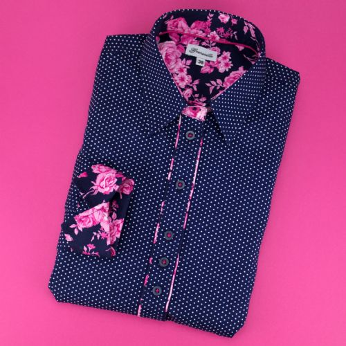Grenouille Ladies Long Sleeve Navy and White Polka Dot Shirt With Pink Rose Detail